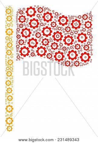 Waving Flag Collage Of Gear Elements. Vector Cogwheel Pictograms Are Combined Into Waving Flag Patte