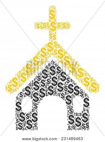 Christian Church Mosaic Of Dollars. Vector Dollar Symbols Are Organized Into Christian Church Compos