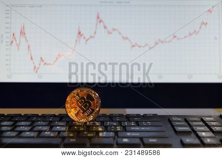 Bitcoin On Black Keyboard One Coin Gold Color In The Chart Background, Growing Up