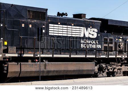 Kokomo - Circa March 2018: Norfolk Southern Railway Engine Train. Ns Is A Class I Railroad In The Us