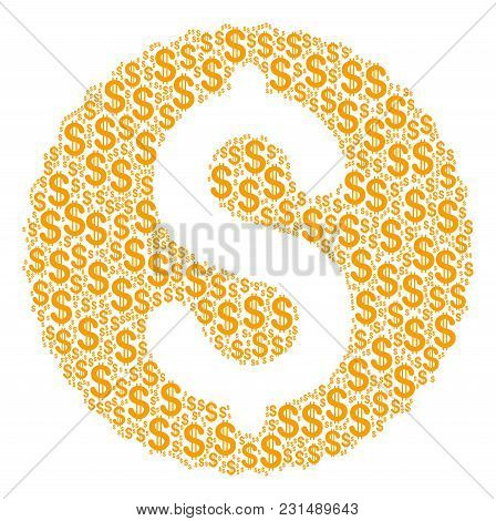 Dollar Coin Composition Of Dollar Symbols. Vector Dollar Currency Icons Are Composed Into Dollar Coi