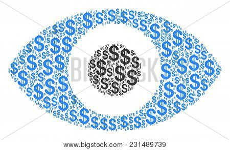 Eye Composition Of American Dollars. Vector Dollar Currency Icons Are Combined Into Eye Composition.
