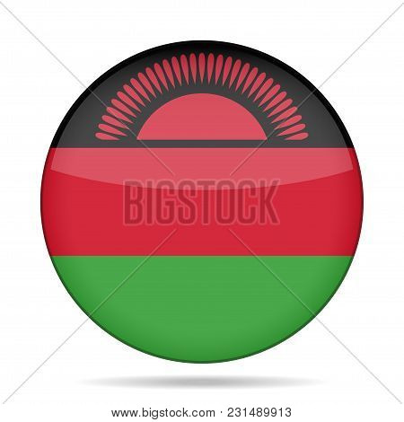 National Flag Of Malawi. Shiny Round Button With Shadow.