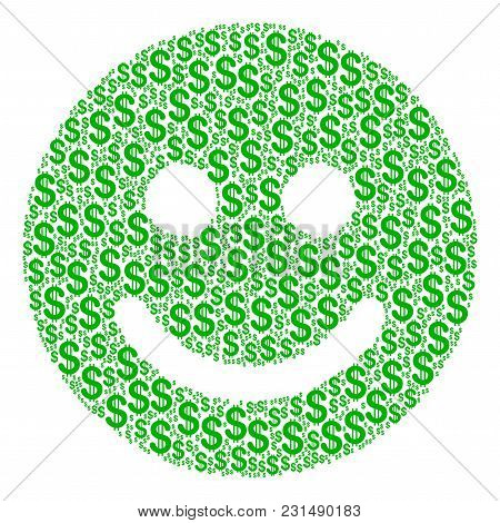 Glad Smile Composition Of Dollars. Vector Dollar Icons Are Organized Into Glad Smile Mosaic.