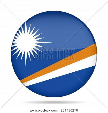 National Flag Of Marshall Islands. Shiny Round Button With Shadow.