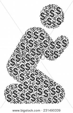 Praying Person Collage Of Dollar Symbols. Vector Dollar Currency Symbols Are Composed Into Praying P
