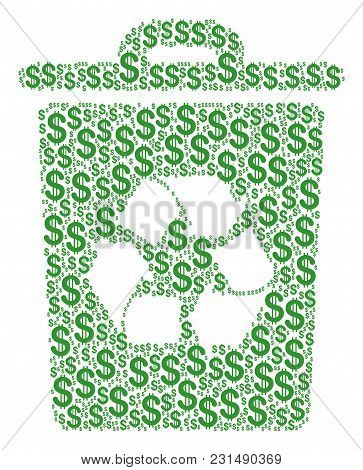 Recycle Bin Collage Of Dollars. Vector Dollar Currency Icons Are Grouped Into Recycle Bin Collage.