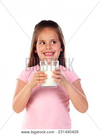 Adorable child drinking milk isolated on a white background