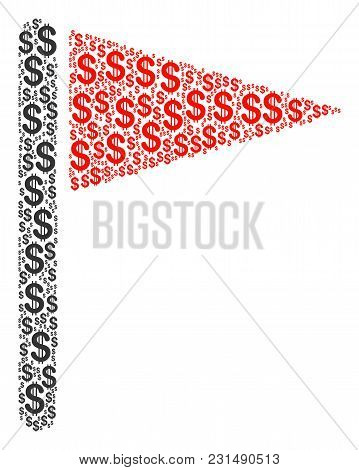 Triangle Flag Composition Of Dollar Symbols. Vector Dollar Icons Are Grouped Into Triangle Flag Mosa