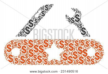 Universal Multitool Knife Collage Of Dollars. Vector Dollar Currency Icons Are Composed Into Univers