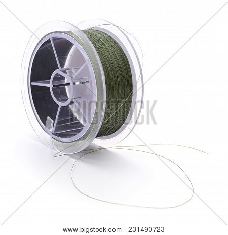 A Spool Of Fishing Line Isolated On White.