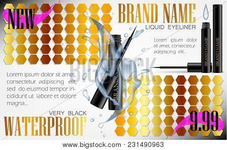 3d Realistic Eyeliner Pen Vector In Black Case With Water Splash. Gold Pink Flyer. Elegant Liquid Li