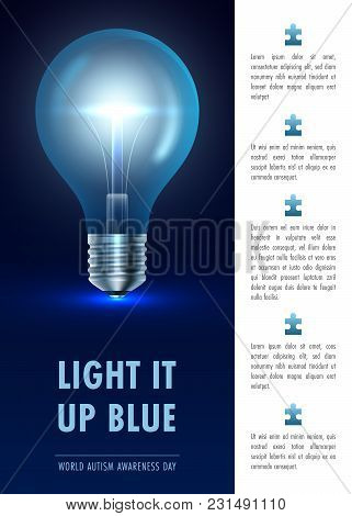 Light It Up Blue. Poster, Flyer Or Banner Template. Vector Illustration