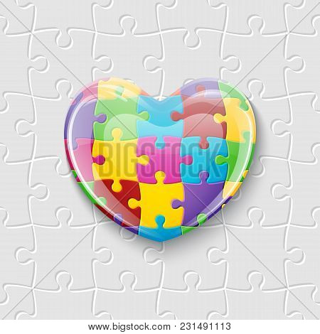 Colorful Glass Heart Made Of Puzzle Pieces. Symbol Of Autism. Vector Illustration