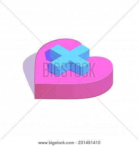 Isometric Plus Button On Heart Simple Icon. New Partner Concept Vector Illustration