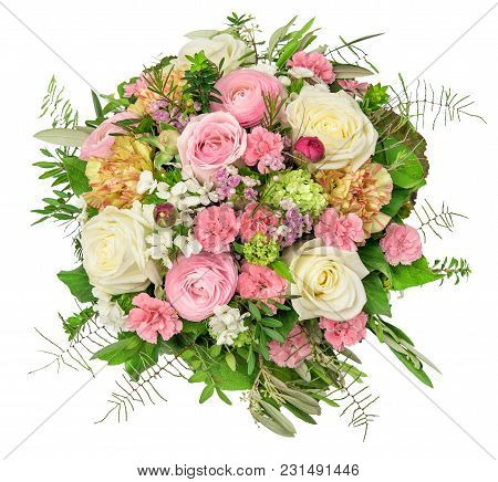 Flowers Bouquet Isolated On White Background. Rose, Ranunculus, Carnation Flower. Floral Decoration