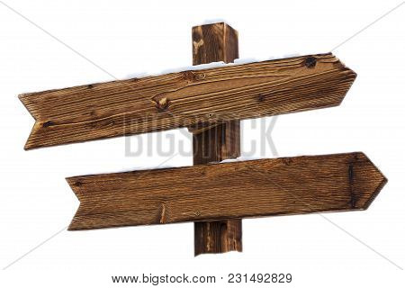 Empty Wooden Sign With Snow On White Background