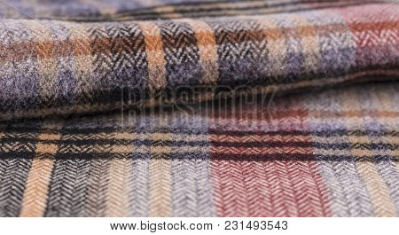 Knitting Wool Texture Background. Colorful Knitted Horizontal Textured Background.