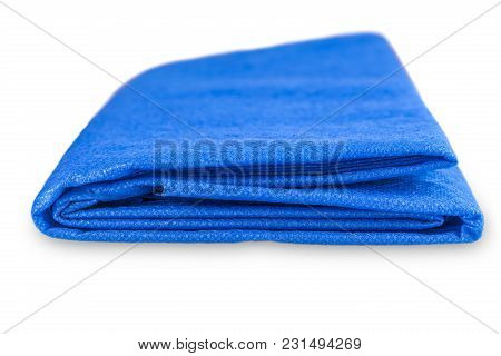 The Blue  Striped Tablecloth On White Background