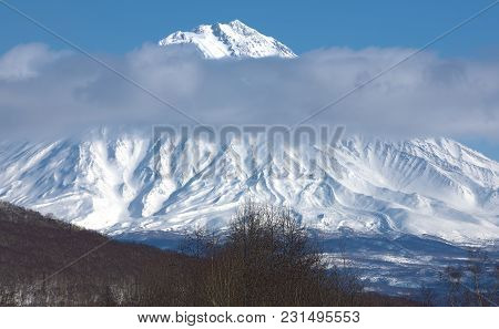 Cloud Cap On The Top Of Volcano Koryaksky Located On Kamchatka Region, Russia