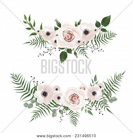Vector Designer Elements Set Collection Of Green Forest Leaves, And Flowers In Watercolor Style. Dec