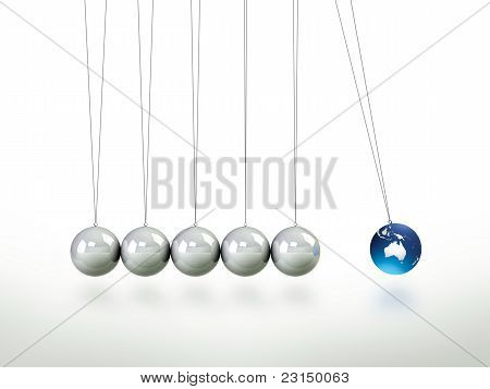 Newtons Cradle Pendulum Lead Ball Masked In illustration Of Austrailia