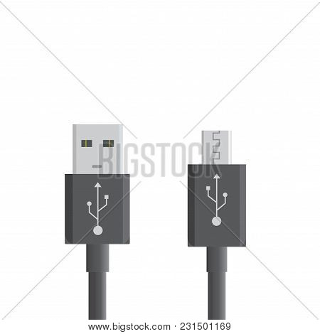 Black Micro Usb Cables On White Background. Connectors And Sockets For Pc And Mobile Devices. Comput