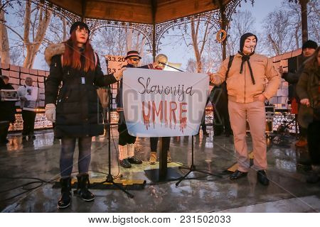 Zagreb, Croatia - 3rd March, 2018 : Protesters Hold Sign Slavonija Is Dying On Protest Against The F