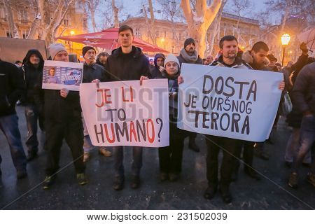 Zagreb, Croatia - 3rd March, 2018 : Protesters With Boards Protest Against The Financial Enforcement