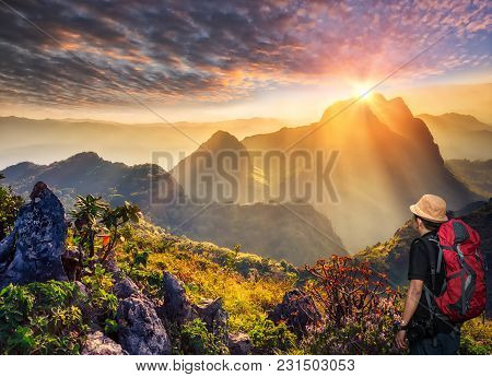 Raylight Sunset Landscape At Doi Luang Chiang Dao, High Mountain In Chiang Mai Province, Thailand