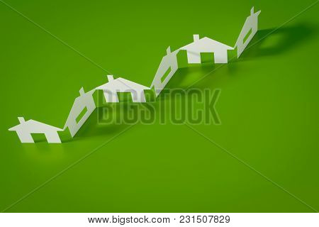 3d illustration of a paper cutout row of houses green background