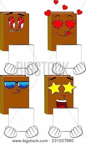 Books Holding White Box. Cartoon Book Collection With Various Faces. Expressions Vector Set.
