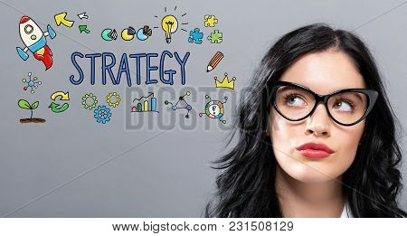 Strategy With Young Businesswoman In A Thoughtful Face