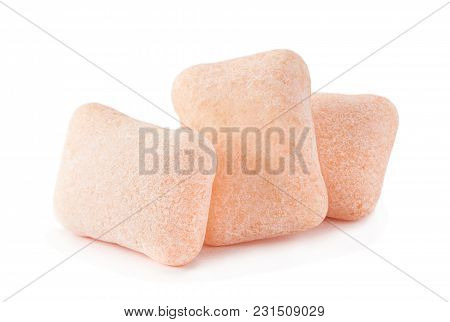 Peach Color Chewing Gum Piece Macro Isolated On White Background