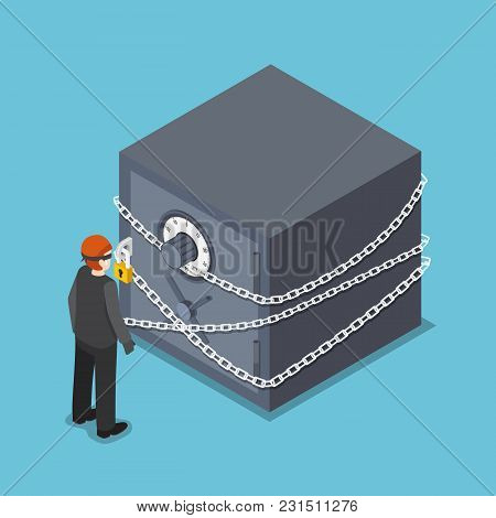 Flat 3d Isometric Thief Standing In Front Of Full Security Safe Box. Business And Financial Security