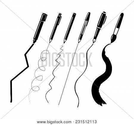Stationary Writing Implements, Pen, Fountain Pen, Pencil And Paint Brush Illustration