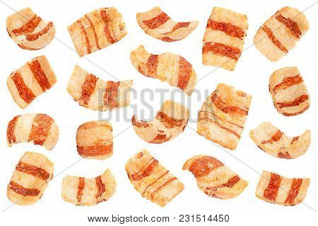 Pelleted Salted Snack Bacon Set Isolated On White Background