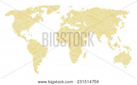 Global World Atlas Composition Created Of Space Star Design Elements. Vector Space Star Design Eleme