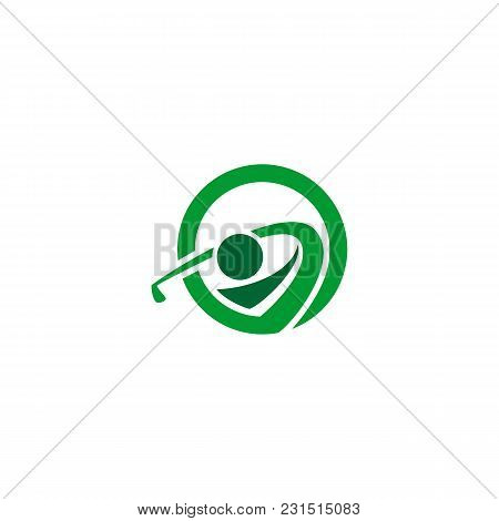 Abstract People Golf Sports Vector Icon Logo