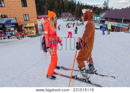 Sheregesh, Kemerovo Region, Russia - April 22, 2017: Grelka Fest Is A Sports And Entertainment Activ