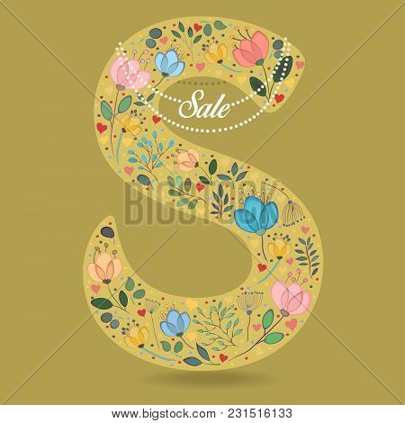 Yellow Letter S With Folk Floral Decor. Colorful Watercolor Flowers And Plants. Small Hearts. Gracef