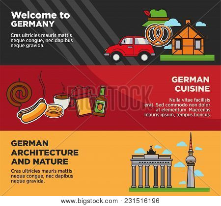 Welcome To Germany Advertisement Banners With National Cuisine And Architecture. Tasty Food, Authent