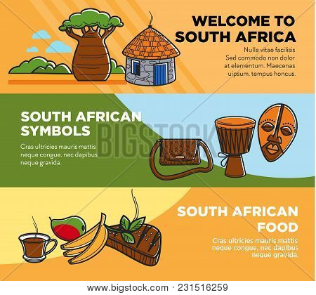 Welcome To South Africa Promotional Travel Agency Posters Set. Wild Nature, National Tribal Symbols