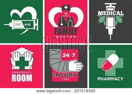 Medicine Aid And Health Service Promotional Emblems Set. Pharmacy And Injury Care Commercial Emblem.