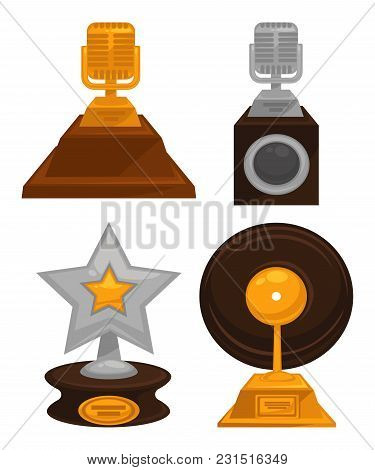 Prestigious Honorable Gold And Silver Music Awards Set. Retro Microphone, Huge Star And Vinyl Disc O
