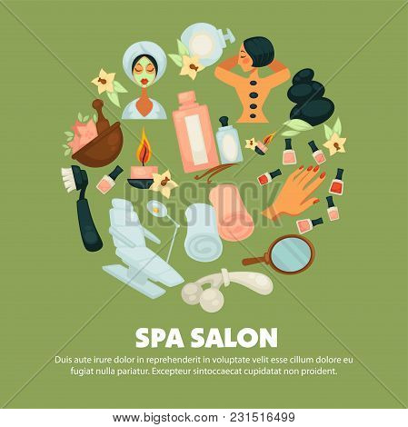 Spa Salon With High Quality Skincare Services Promotional Poster. Woman In Towel And Robe With Mask,