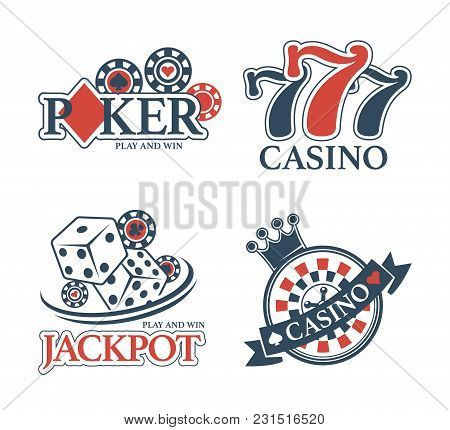 Casino Jackpot And Poker Club Isolated Promotional Emblems Set. Chips For Stakes, Win Combination Of