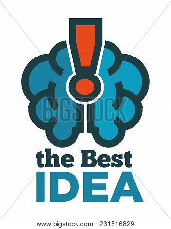 Best Idea Promotional Logotype With Human Brain And Exclamation Mark. Creative Thought Commercial Em