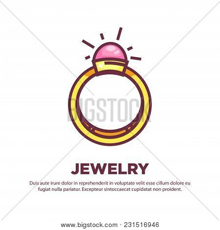 Jewelry Promotional Poster With Elegant Expensive Gold Ring. Luxurious Accessories With Shiny Natura