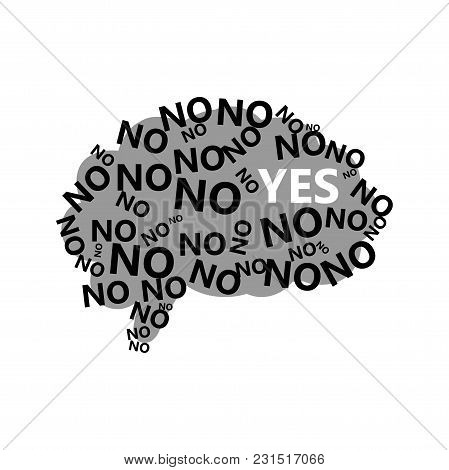 Human Brain Silhouette With No And Yes Signs. Thinking Process And Making Decision Logotype. Agreeme